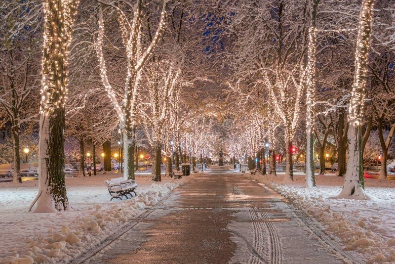 Boston in de Winter stock afbeeldingen
