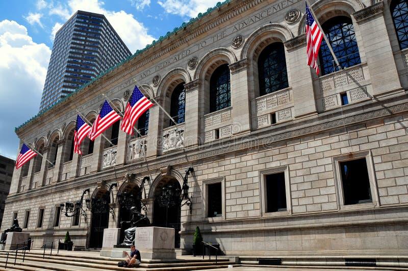 Boston, doctorandus in de letteren:  De Openbare Bibliotheek van Boston stock foto's