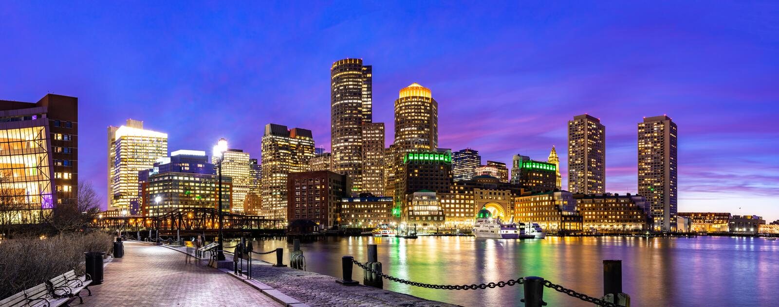 Boston Downtont night Panorama stock photography