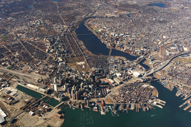 Boston downtown. View of Boston from 7500 feet