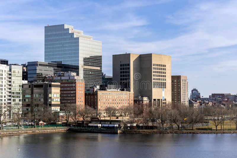 Boston Downtown. Cityscape along Charles River with skylines building at Boston city, MA, USA stock photography