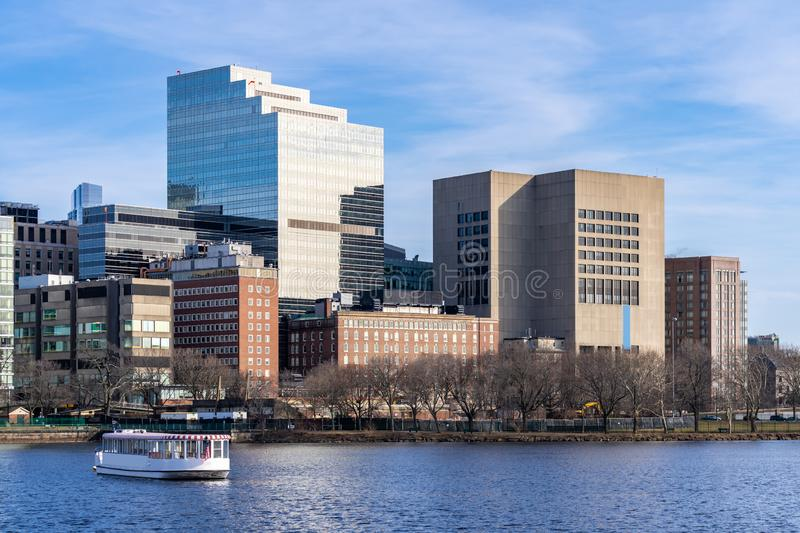 Boston Downtown. Cityscape along Charles River with skylines building at Boston city, MA, USA stock photo