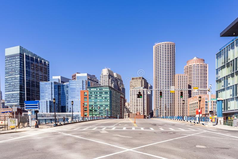 Boston Downtown. Cityscape with skylines building at Boston city, MA, USA stock photos