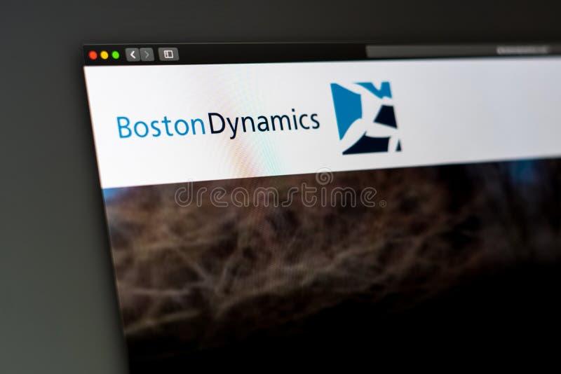 Boston Dynamics firmy strony internetowej homepage Zamyka up logo obraz stock