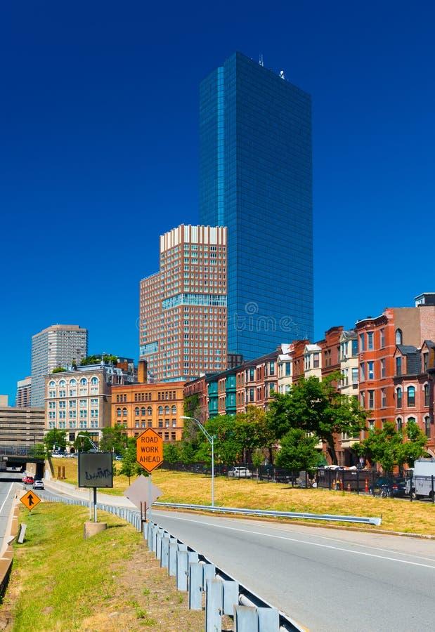 Boston - em junho de 2016, miliampère, EUA: Vista da torre de John Hancock fotografia de stock