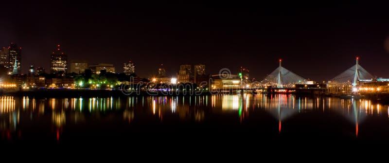 Boston en la noche panorámica fotografía de archivo libre de regalías
