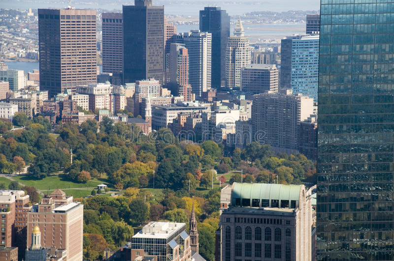Boston During the Fall. With Skyscrapers and Trees royalty free stock photo