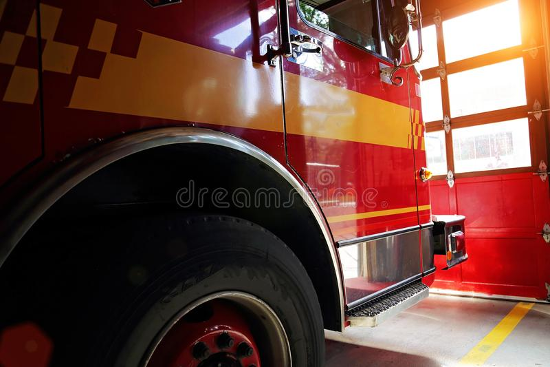 Fire truck ready to respond to emergency. Boston, Fire truck ready to respond to emergency stock photos