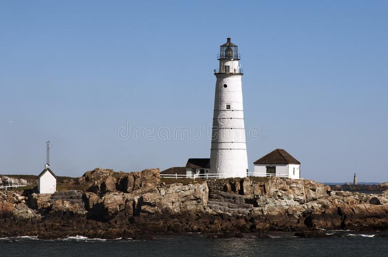 Boston Harbor Lighthouse on a Morning in Autumn stock photography