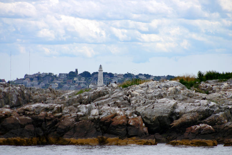 Boston Harbor lighthouse is the oldest lighthouse in New England. stock photo