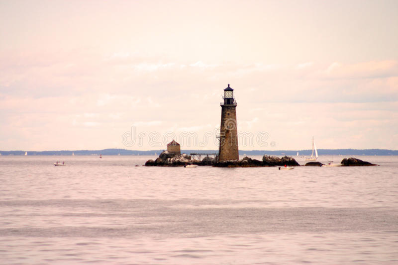 Boston Harbor lighthouse is the oldest lighthouse in New England.  stock image