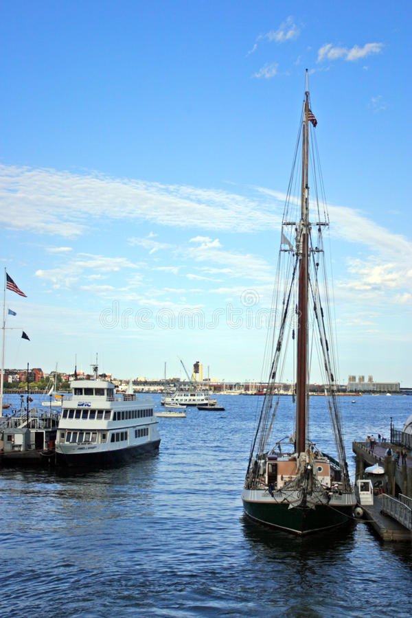Boston Harbor lighthouse is the oldest lighthouse in New England.  stock images
