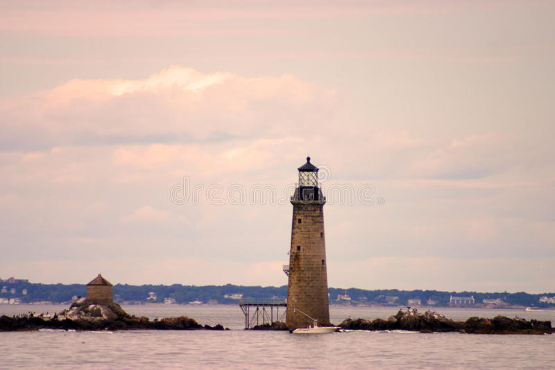 Boston Harbor lighthouse is the oldest lighthouse in New England.  stock photography