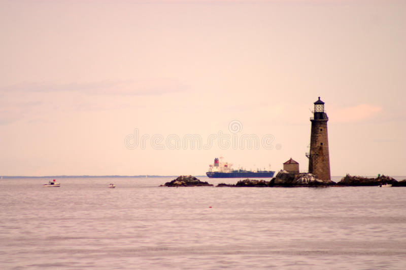 Boston Harbor lighthouse is the oldest lighthouse in New England royalty free stock images