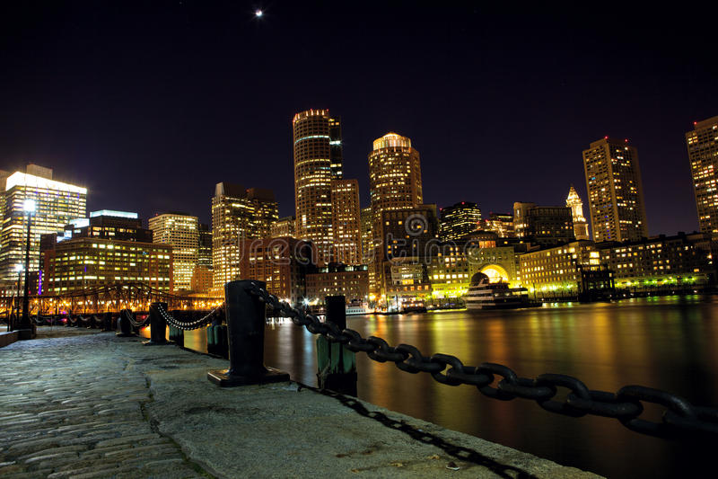 Boston harbor at night royalty free stock image