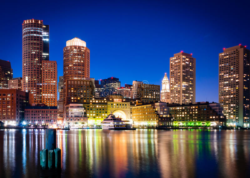 Boston Harbor at Night royalty free stock photos