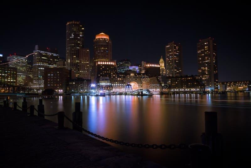 Boston harbor at nigth royalty free stock photography