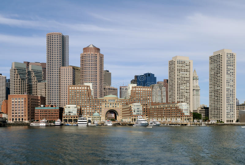 Boston Harbor and Skyline stock images