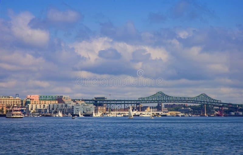 Boston Harbor and Tobin Bridge royalty free stock images