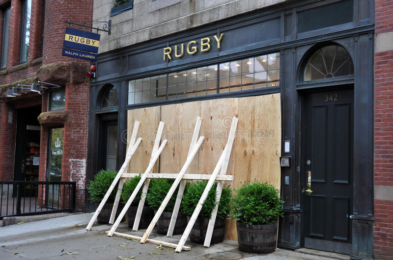 Boston, Hurricane Irene - Closed store in Newbury. 28th August 2011, Boston - Rugby Polo Ralph Lauren shop in Newbury Street closed during the Hurricane Irene stock photos