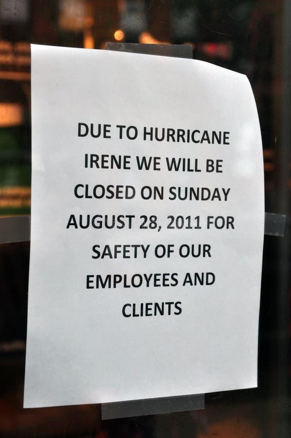 Boston, Hurricane Irene - Closed store in Newbury. 28th August 2011, Boston - A store in Newbury Street announcing the closure during Hurricane Irene royalty free stock photo