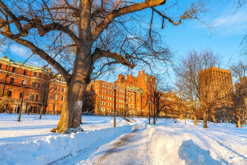 Boston ist im Winter üblich lizenzfreie stockfotos