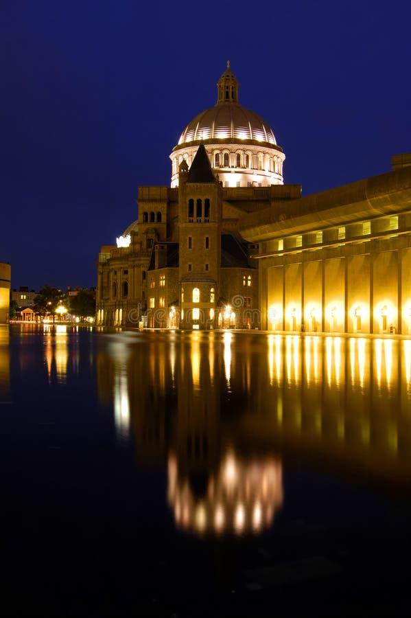 Boston-Kirche nachts lizenzfreie stockfotos