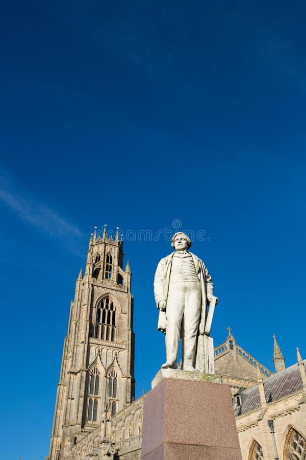 Boston, Lincolnshire, United Kingdrom, 19th October 2014, Statue of Herbert Ingram infront of Saint Botolphs Church stock photo