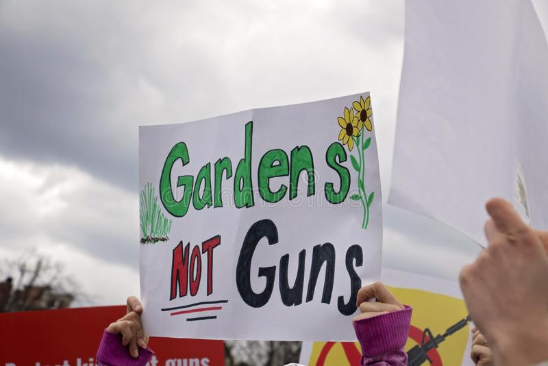 Boston, MA/America - 24 de março de 2018: março por nossas vidas Controlo de armas, demonstração da reforma da arma imagens de stock royalty free
