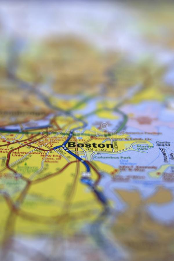 Boston, MA centered on a paper roadmap with limited focus. Usa, city, massachusetts, travel, cartography, roads, background, america, trip, location royalty free stock image