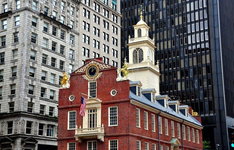 Boston, mA : 1713 historiques vieille Chambre de l'état photo stock