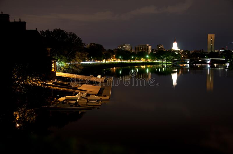 Boston, MA - July 10th 2010: the night of Charles river with peace stock image