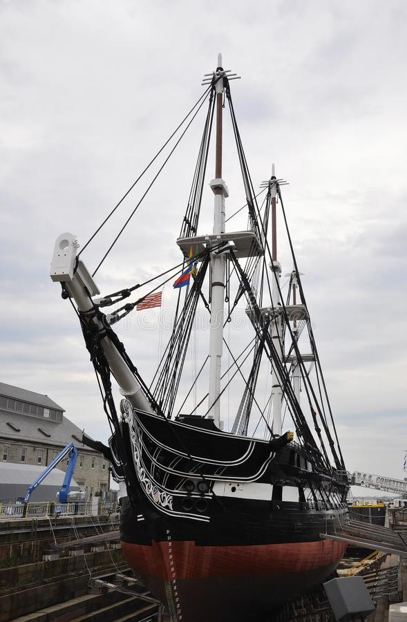 Boston Ma, 30 Juni: USS-Grondwetsfregat van Charlestown-Scheepswerf Boston in Massachusettes-Staat van de V.S. stock foto