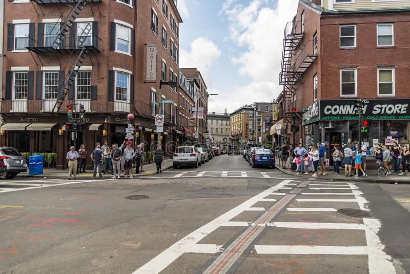 Narrow street in the North End of Boston, Massachusetts. BOSTON MA- SEPTEMBER 10: narrow street in the North End, the Italian disctrict on September 10, 2017 in stock photography