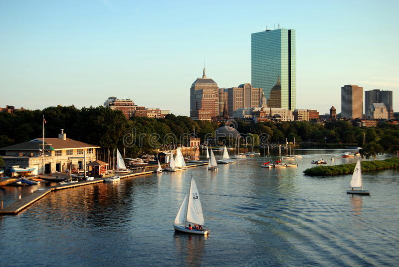 Boston, MA: Skyline and Charles River stock image