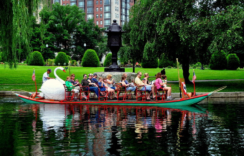 boston ma swan boat in the boston public garden editorial image image 32551475