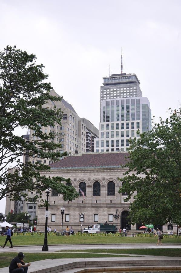 Boston Ma, 30th Czerwiec: Biblioteka Publiczna budynek w Copley kwadracie od Boston w Massachusettes stanie usa zdjęcie stock