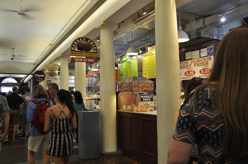 Boston Ma, 30th June: Quincy Market interior from Faneuil Marketplace in Downtown Boston from Massachusettes State of USA. Quincy Market interior from Faneuil stock photo