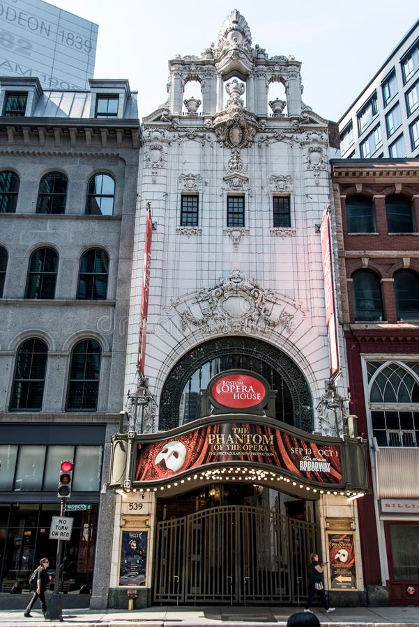 Boston, MA USA 06.09.2017 Front of the Opera House Theater iconic neon sign dominates Washington Street Theater District royalty free stock images