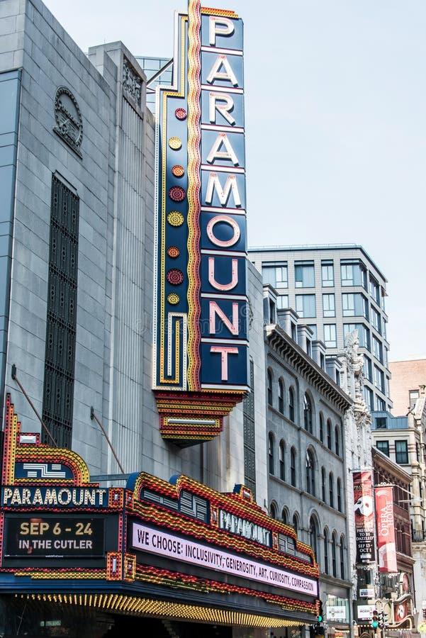 Boston, MA USA 06.09.2017 Paramount Theater iconic neon sign dominates Washington Street Theater District stock photography