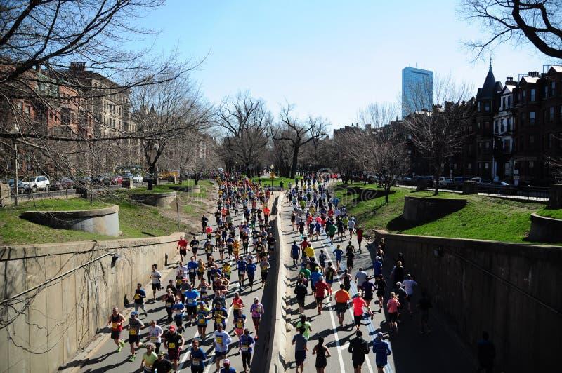 Boston marathon runners royalty free stock images