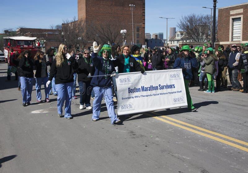 Boston Maraton bomby ocalały, St Patrick dnia parada, 2014, Południowy Boston, Massachusetts, usa fotografia royalty free