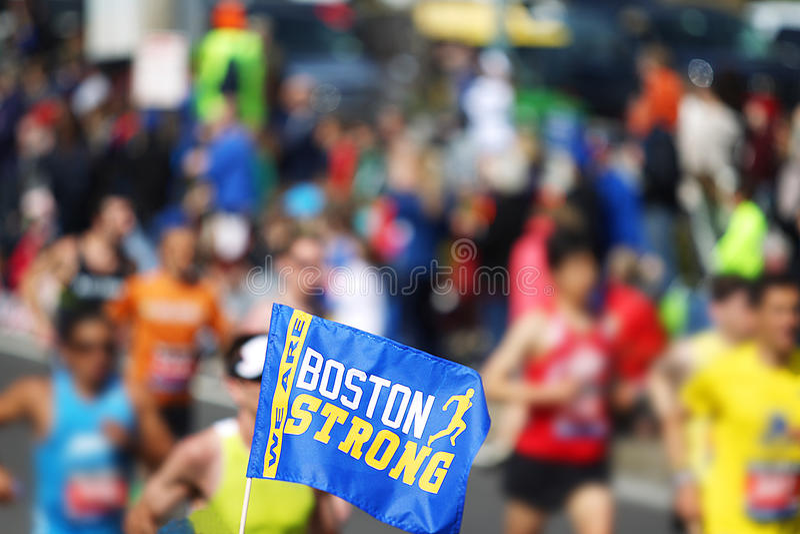 Boston maratonflagga royaltyfri fotografi
