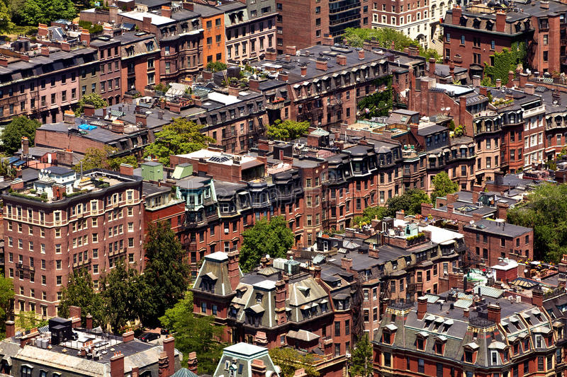 Boston in Massachusetts. Aerial view of the Boston Architecture in Massachusetts, USA on a sunny summer day royalty free stock photography