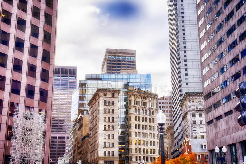 Boston Massachusetts Brick architecture cloudy day. The various buildings in the city of Boston Massachusetts cityscape on a cloudy, blue sky day royalty free stock image