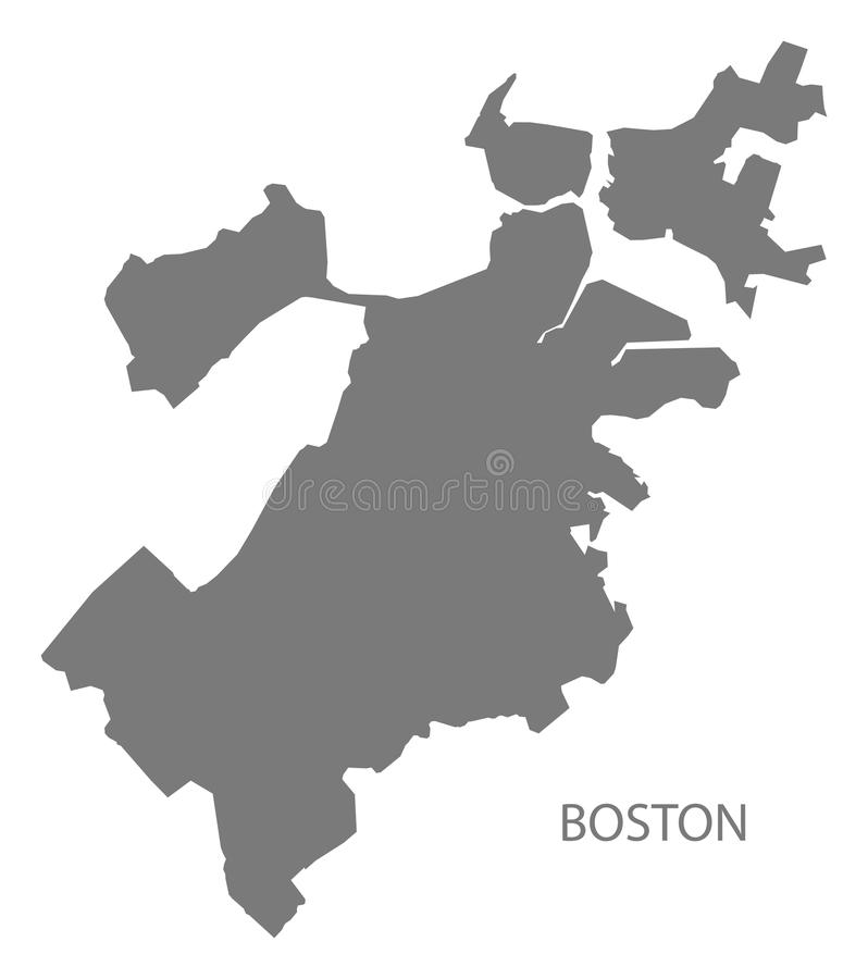 Free Boston Massachusetts City Map Grey Illustration Silhouette Shape Stock Photos - 113152733