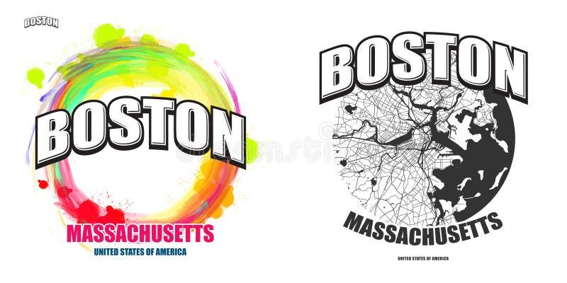 Boston, Massachusetts, dos ilustraciones del logotipo ilustración del vector