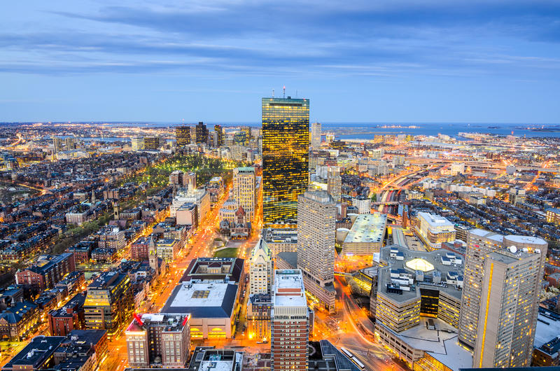 Boston, Massachusetts Downtown Cityscape. Boston, Massachusetts, USA aerial view of the downtown cityscape royalty free stock photography
