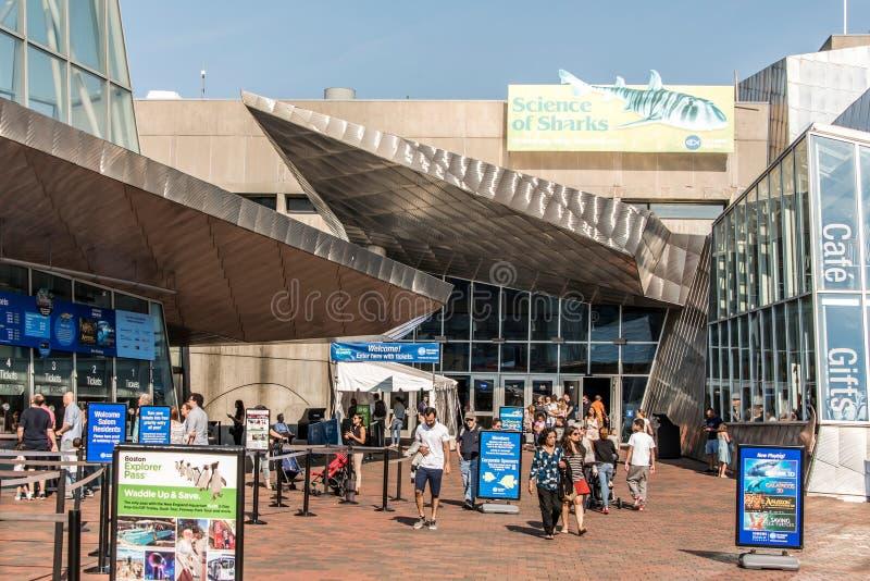 Boston Massachusetts EUA 06 09 entrada 2017 do aquário de Nova Inglaterra em Boston fotos de stock royalty free
