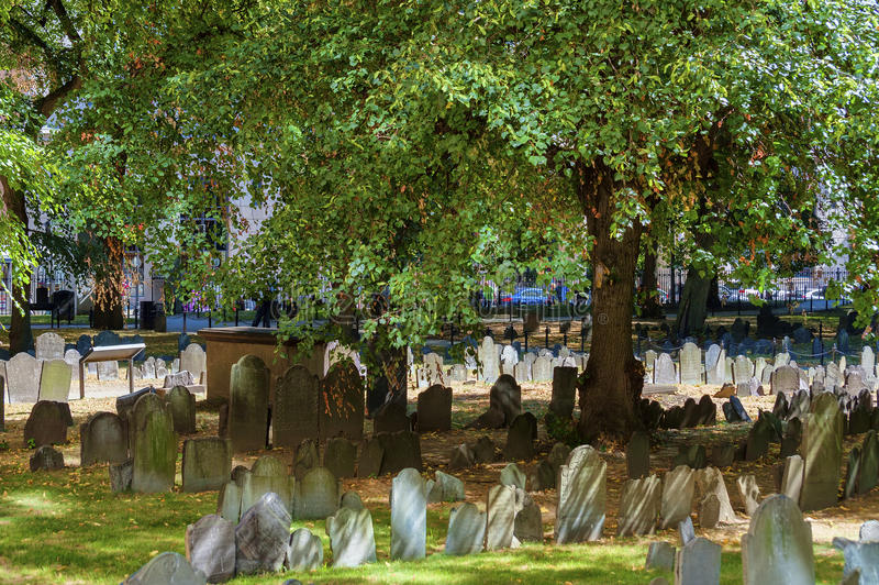 Boston Massachusetts Granary Burial Ground stock image